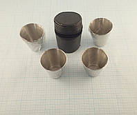 Набор металлических стаканчиков (4х80 грамм) в чехле