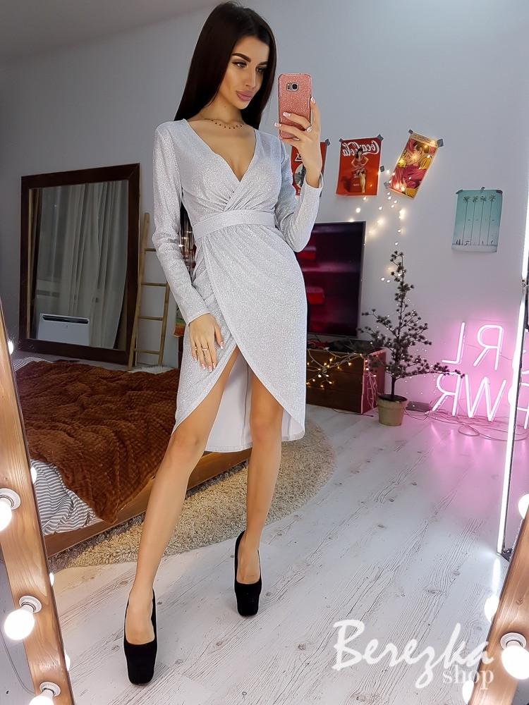 Платье из люрекса на запах с поясом из камней 6603783Q