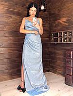 Длинное платье из люрекса на бретелях с разрезом на ноге 6003806, фото 1