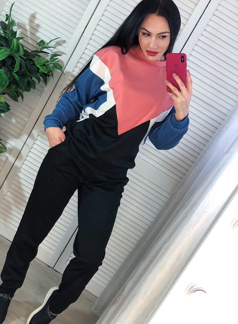 Спортивный женский костюм из плотного трикотажа с кофтой 4005829