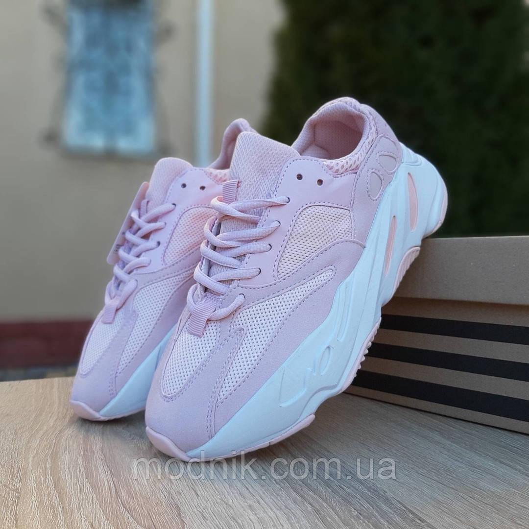 Женские кроссовки Adidas Yeezy 700 V2 (бледно-розовые)