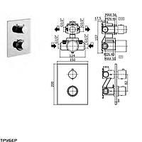 LIQ 518 NO/M light  Смеситель для ванны термостатичный скрытого монтажа на 2 выхода, чорн.мат