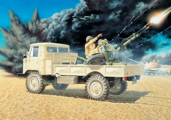 ГАЗ-66 с ЗУ-23-2. Сборная модель в масштабе 1/35. EASTERN EXPRESS 35132, фото 2