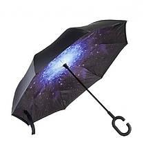 Ветрозащитный зонт обратного сложения д110см 8сп WHW17133 звездное небо