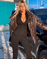 Женский черный и белый комбинезон с утяжкой с молнией на груди 7110431, фото 1