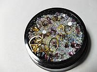 Декор для ногтей микс розовый (стразы,камни,фигурки)