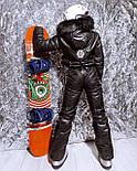 Женский зимний горнолыжный комбинезон с резинкой на талии и меховой опушкой на капюшоне 180843, фото 3