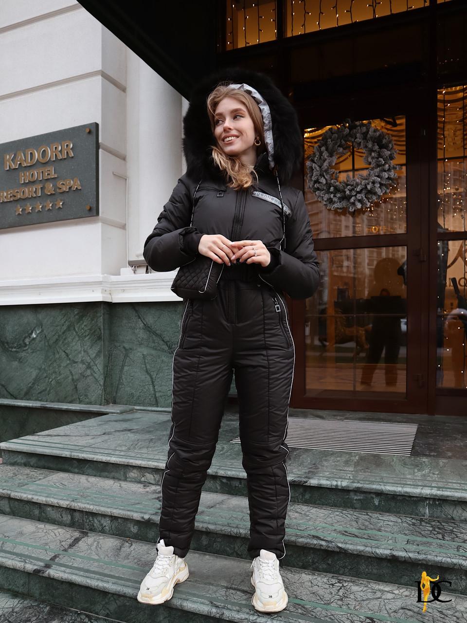 Женский черный лыжный комбинезон с поясной сумочкой 310846