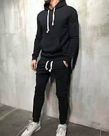 Спортивный костюм мужской зимний теплый черный качественный без логотипа