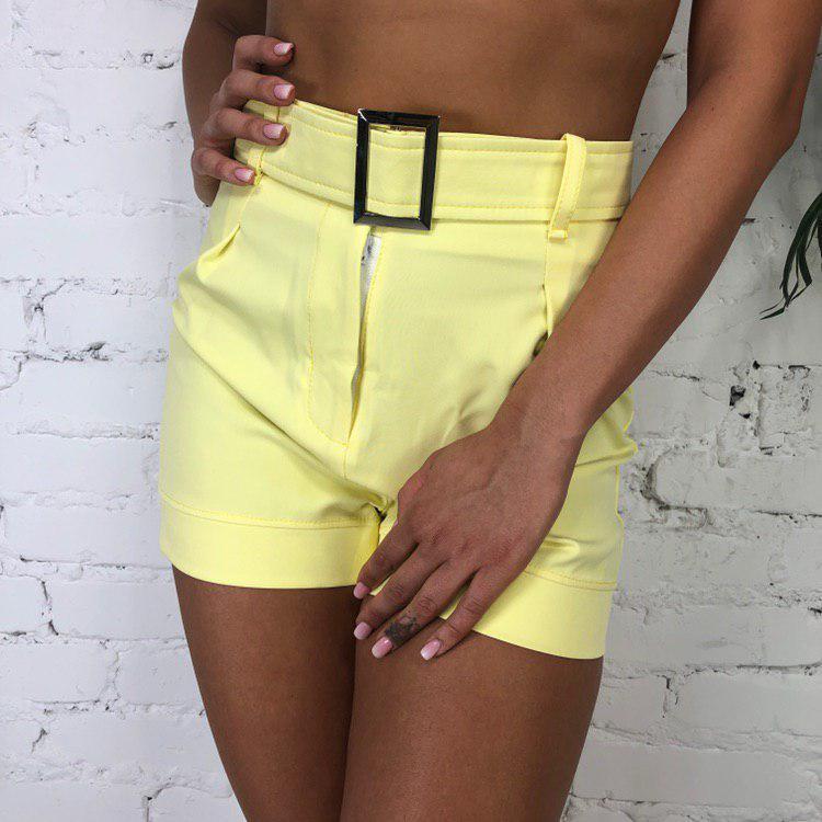 Шорты женские костюмка в расцветках Желтый