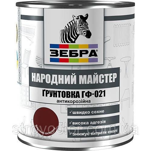 Грунтовка по металлу Зебра ГФ-021 №87 красно-коричневая, 2,8 кг