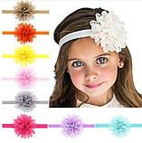 Дитяча світло-рожева пов'язка з квіткою - коло 40-50см, розмір квітки 10см, фото 2