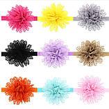 Дитяча світло-рожева пов'язка з квіткою - коло 40-50см, розмір квітки 10см, фото 3