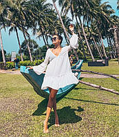 Пляжное короткое платье туника, белое