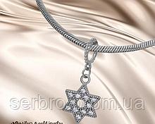 Серебряный родированый шарм с цирконами Звезда