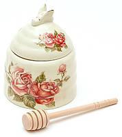 Банка для меда Cream Rose Корейская Роза d 10х12.5см с деревянной ложкой-булавой (psg_BD-XX882)