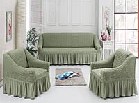Чехол универсальный на диван и два кресла - Светло-серый 1'360грн