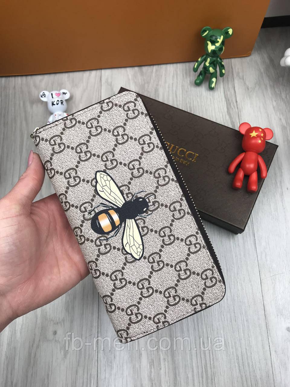 Кошелек Gucci   Бумажник коричневый Гуччи Муха   Портмоне для денег Gucci   Кошелек коричневый Гучи