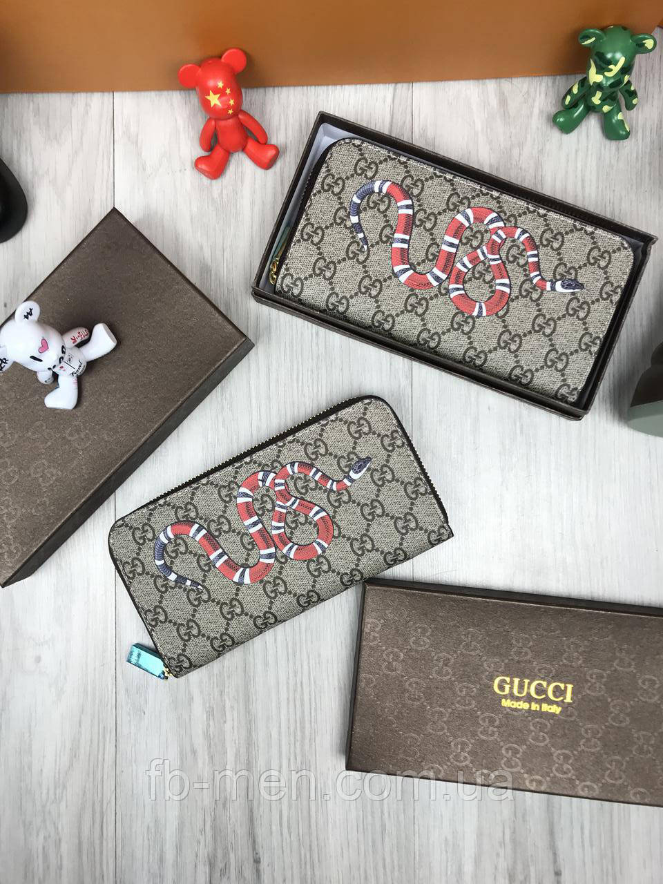 Кошелек Gucci | Бумажник мужской женский Gucci змея | Коричневый органайзер Гуччи змея | Портмоне Gucci змея