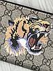 Кошелек Gucci мужской женский   Бумажни Gucci тигр бежевый   Органайзер для денег Гуччи тигры коричневый, фото 3