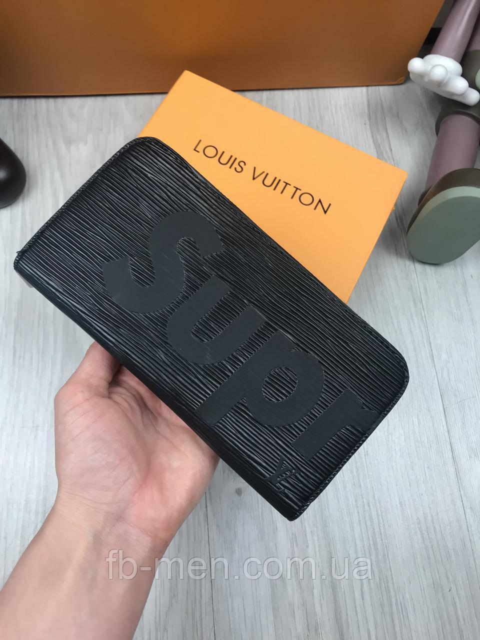 Портмоне Louis Vuitton | Кошелек мужской женский Луи Виттон черного цвета на молнии