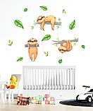 Детские  наклейки на стену Ленивцы, фото 2