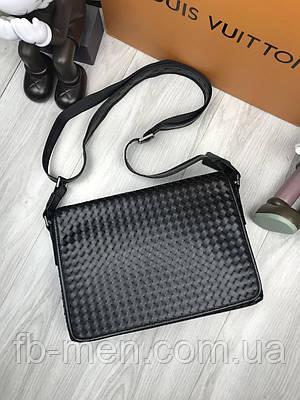 Мужская черная сумка-мессенджер Боттега Венета | Кожаный мессенджер Боттега Венета кожаный | Планшетка Ботега