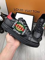 Кроссовки Gucci | Черные кроссовки Гуччи | Кожаная мужская обувь Гуччи | Стильные молодежные кроссовки Gucci