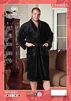Мужской халат на запах черный