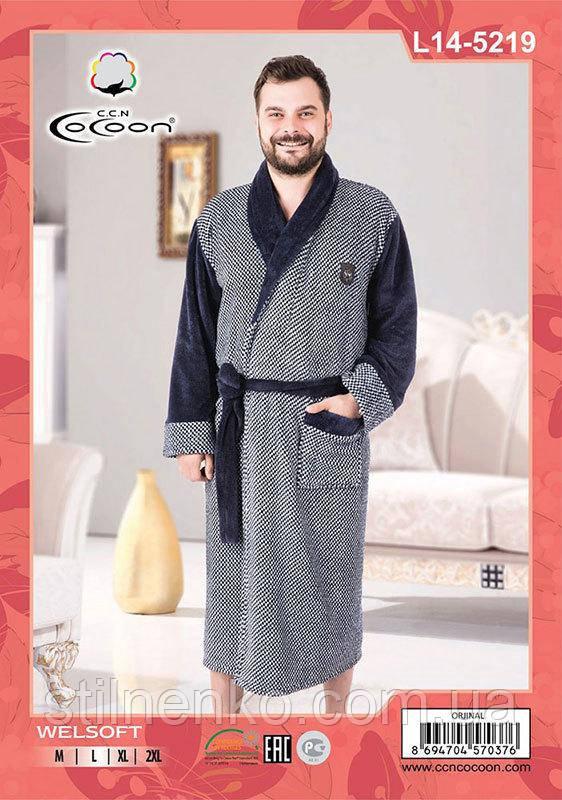 Мужской халат на запах с карманами