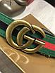 Ремень Gucci зеленый    Гуччи текстильный пояс мужской   Гучи текстильный ремень под джинсы брюки в коробке, фото 3