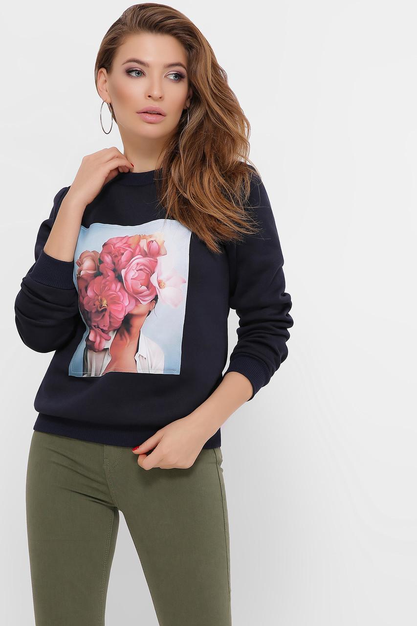 Свитшот женский голубой-Пионы розовые Т-1 (зима)  д/р