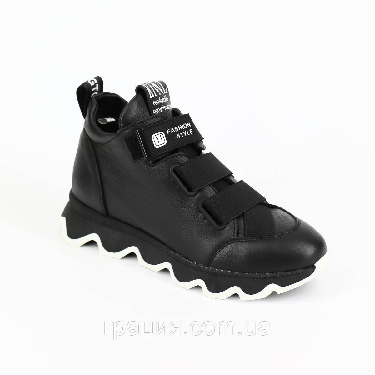 Стильные молодежные зимние кожаные кроссовки