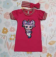Платье  с Повязкой для Девочки с Коротким Рукавом Куколка LOL Малиновое Рост 86-116 см