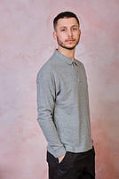 Мужская футболка-поло POLO REGULAR MAN LS цвет темно-серый меланж (GM), фото 4