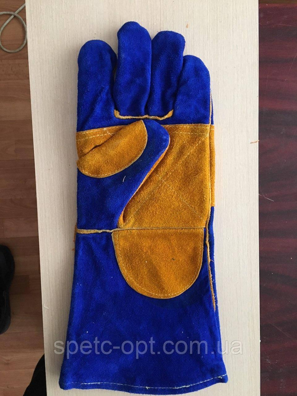 Краги сварочные спилковые МІК с кевларовой нитью, Перчатки крагами сварочные усиленные.