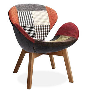 Кресло Сван Вуд Армз, мягкое, ножки дерево бук, ткань, цвет пэчворк