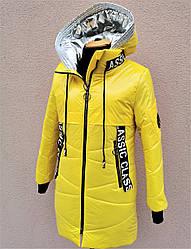 Лаковая удлиненная демисезонная куртка для девочек.