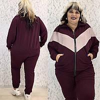 Женский спортивный костюм двойка кофта на молнии штаны на резинке батал размер: 50-52, 54-56