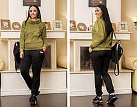 Женский теплый спортивный костюм кофта и штаны трикотаж на флисе размер: 48-50, 52-54, 56-58, 60-62