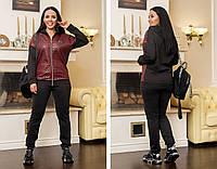 Женский спортивный костюм кофта на молнии+штаны трикотаж на флисе размер: 48-50, 52-54, 56-58, 60-62