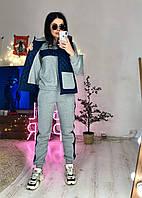 Женский теплый костюм спорт тройка с жилетом из стеганной плащевки 60SP831