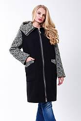 Пальто 2-503 Черный + олива
