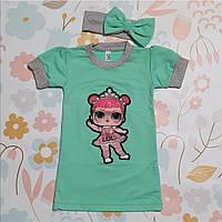 Платье  с Повязкой для Девочки с Коротким Рукавом Куколка LOL Бирюза Рост 86-116 см