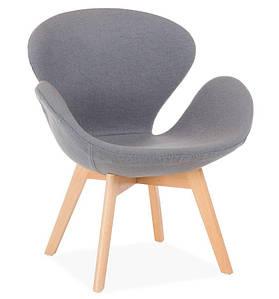 Кресло Сван Вуд Армз, мягкое, ножки дерево бук, ткань серая