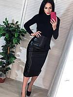 Женская юбка, стильная, кожзам, миди, черная 505-123
