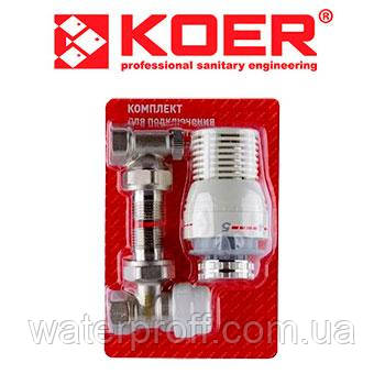 """Комплект кутовий для підключення радіатора з термоголовкою 1/2"""", KOER"""