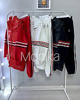 Костюм женский тройка, чёрный, белый, красный, фото 1