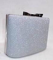 Женский праздничный клатч 09890 серебро парча