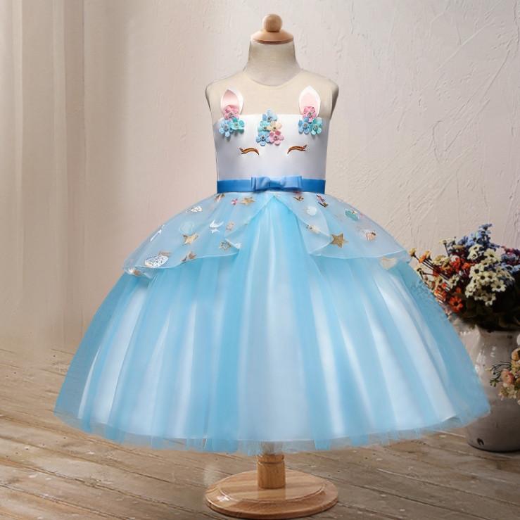 Нарядное детское платье на девочку Единорожка  5-6 лет голубое